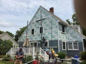 During the Installation of James Hardie Siding in Andover MA